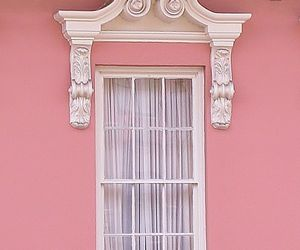 house, pink, and windows image