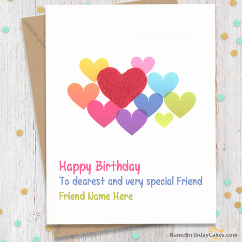 Birthday Card With Name.Write Name On Sweet Birthday Card For Friends Happy