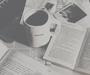 books, tumblr, and coffee image