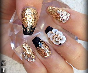 beauty, style, and glitter nails image