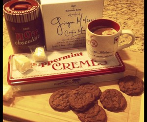 chocolate, coffe, and cookie image