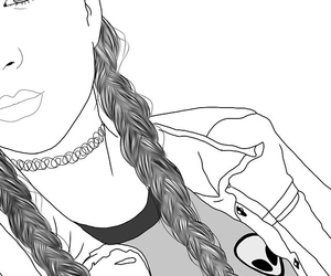 outline, girl, and black image