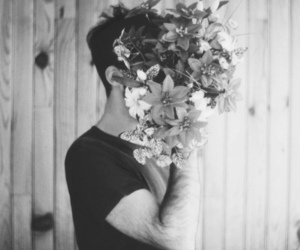 flowers, boy, and black and white image