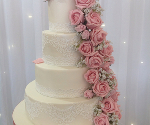 cake, flowers, and lace image