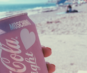 beach, heart, and pink image