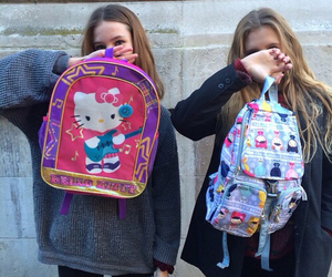 girls, hello kitty, and backpack image