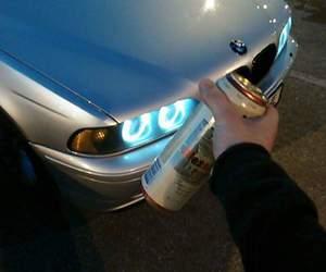 bmw, car, and blue lights image