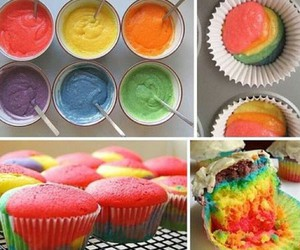 cupcake, rainbow, and food image