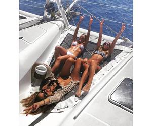 girls, summer, and yacht image