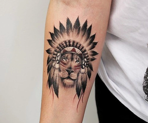 tattoo, lion, and indian image