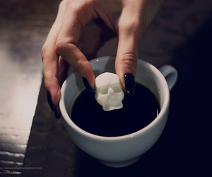 skull, coffee, and sugar image