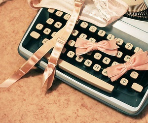 bow, pink, and typewriter image