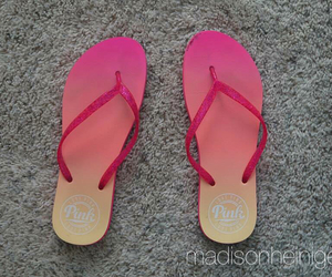 flip flops, pink, and victoria secret image
