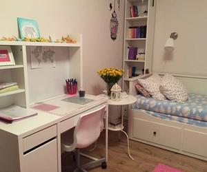 bedroom decoration, interior design, and pastels image