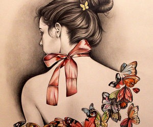 girl, butterfly, and art image