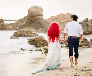ariel, couple, and beach image