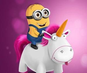minions, unicorn, and pink image