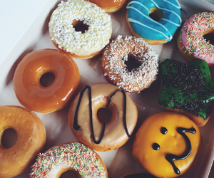 donuts, colorful, and dessert image