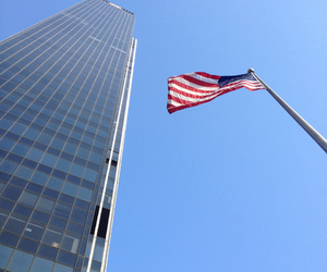 american flag, blue, and blue sky image