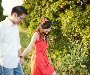 couple, field, and holding hands image
