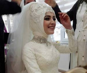 bride, happy, and hijab image