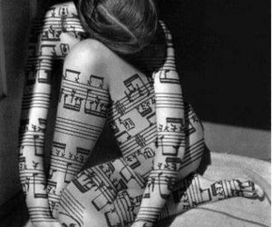 music, woman, and black and white image