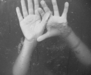 hands, black and white, and sad image