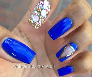 beauty, blue nails, and fashion image