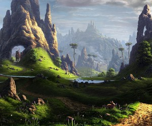 fantasy, valley, and landscape image