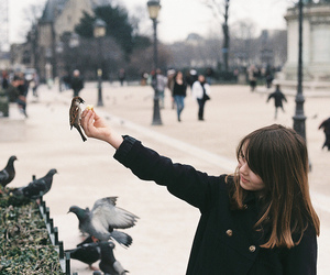 girl, bird, and vintage image
