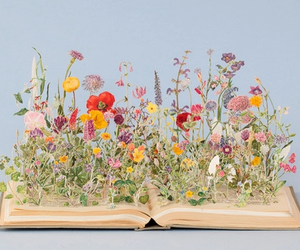 books, flowers, and love image