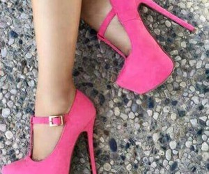 girl, high heels, and pink image
