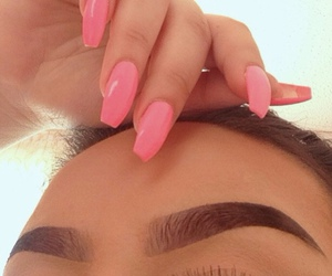 eyeliner, hair, and lips image