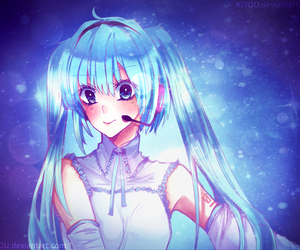 anime girl, blue, and blue hair image