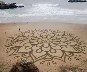 beach, art, and flower image