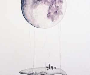 art, moon, and watercolour image