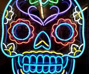 background, neon lights, and colors image