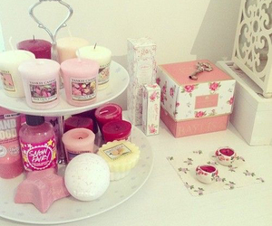 candle, pink, and room image