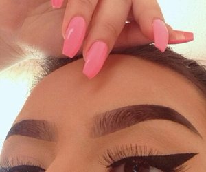 brown, eyebrows, and pink nails image