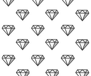 black white, diamond, and wallpaper image