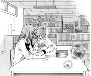 boy, library, and manga image