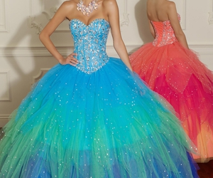 blue, dress, and orange image