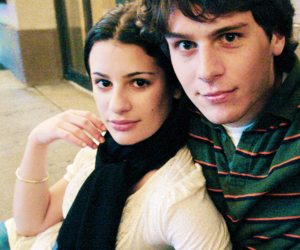 jonathan groff, lea michele, and groffchele image