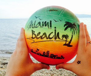 ball, beach, and blue image