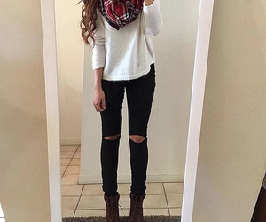 outfit, scarf, and style image
