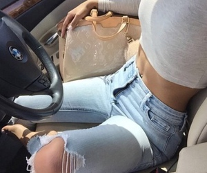 jeans, car, and outfit image