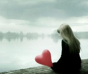 girl, heart, and ballon image