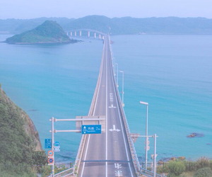 road, blue, and japan image