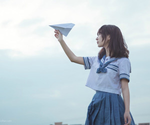 girl, japanese, and sky image