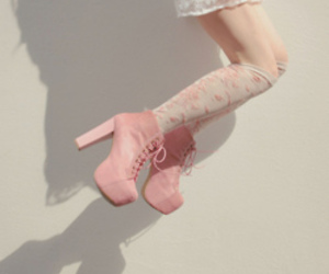 fashion, pink heels, and stockings image